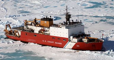 Coast Guard Icebreaker Healy breaking lake ice.